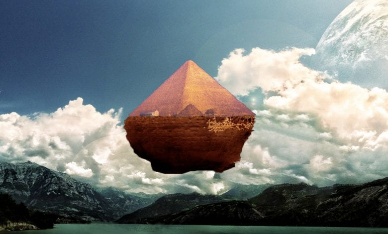 An artist's illustration of a floating pyramid. Curiosmos.