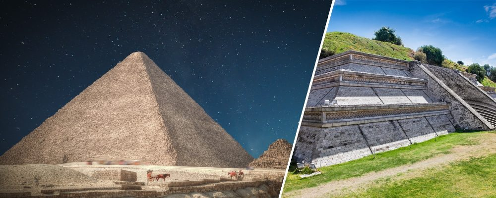 A Side-by-side comparison of the Great Pyramid of Giza and Cholula. Shutterstock / Curiosmos.