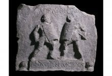 Roman plaque found in Turkey depicting two female gladiators.