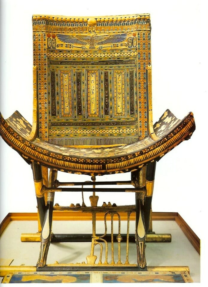 The magnificent ceremonial throne, one of the most spectacular treasures of Tutankhamun's tomb.