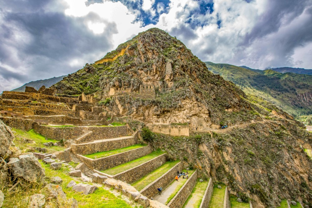The terraced hills of Ollantaytambo and the ancient structures.