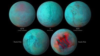 A composite image showing several of the maps obtained from Enceladus. Image Credit: NASA.