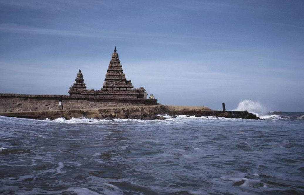 The shore temples of Mahabalipuram, believed to be part of the greater sunken city in the nearby ocean waters.