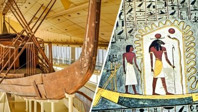 An image showing a depiction of a solar barge in its journey and Khufu's solar ship.