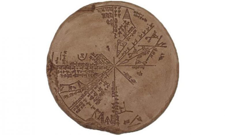 A digital copy of the Sumerian Star Map that presents a better view of the inscriptions and remaining bits of the ancient tablet.