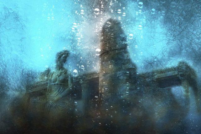 An artist's illustration of a sunken city. Jumpstory.