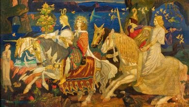 """The Riders of the Sidhe"" by John Duncan, an artwork presenting ancient Irish mythological beings."