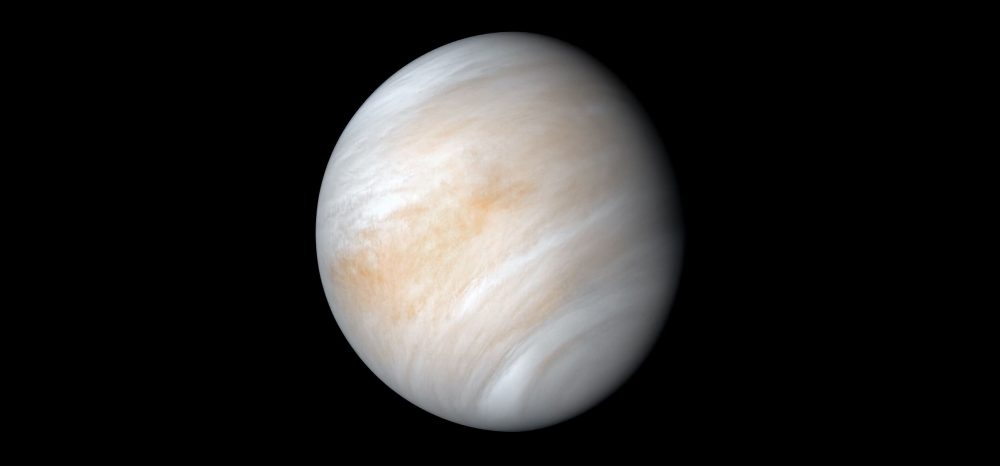 As it sped away from Venus, NASA's Mariner 10 spacecraft captured this seemingly peaceful view of a planet the size of Earth, wrapped in a dense, global cloud layer. Image Credit: NASA/JPL-Caltech.