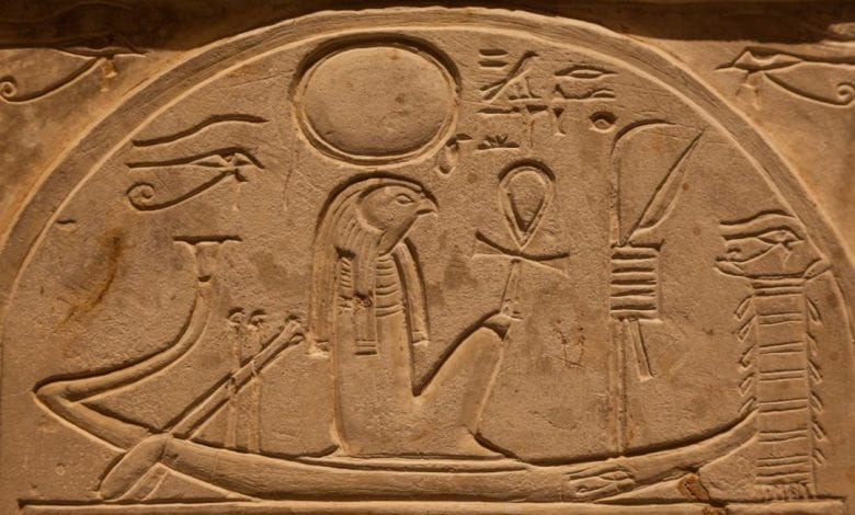 The Ancient Egyptian Sun God Ra as often depicted sailing.