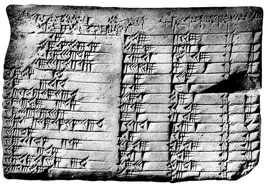 Ancient Babylonian tablet with mathematical principles.