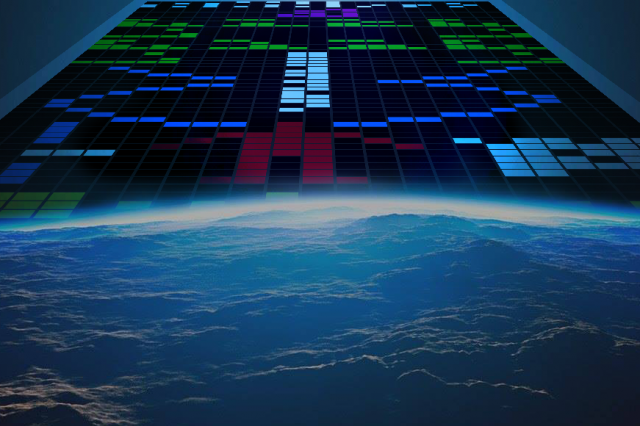 Illustration of the Arecibo Message that Carl Sagan sent to space.