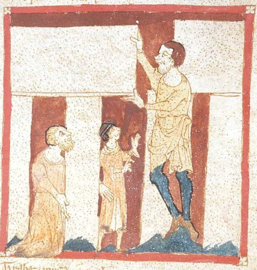 "An illustration from the 19th century manuscript by the poet Wade "":Roman de Brut"". It presents Merlin being helped by a giant to build Stonehenge."