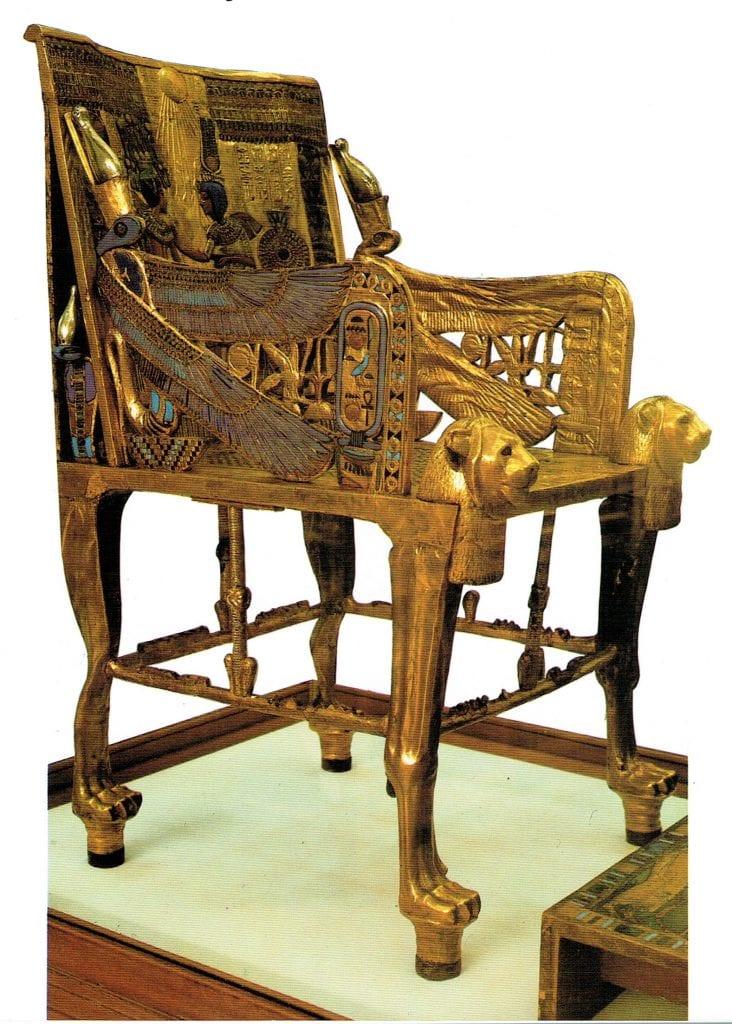 The magnificent golden throne of Tutankhamun.