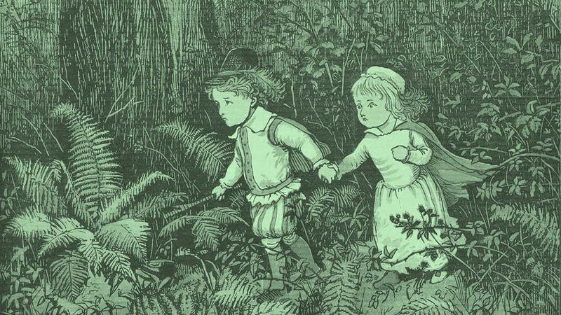 An illustration of the Green Children of Woolpit.