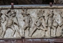Relief presenting several gladiators during a fight.