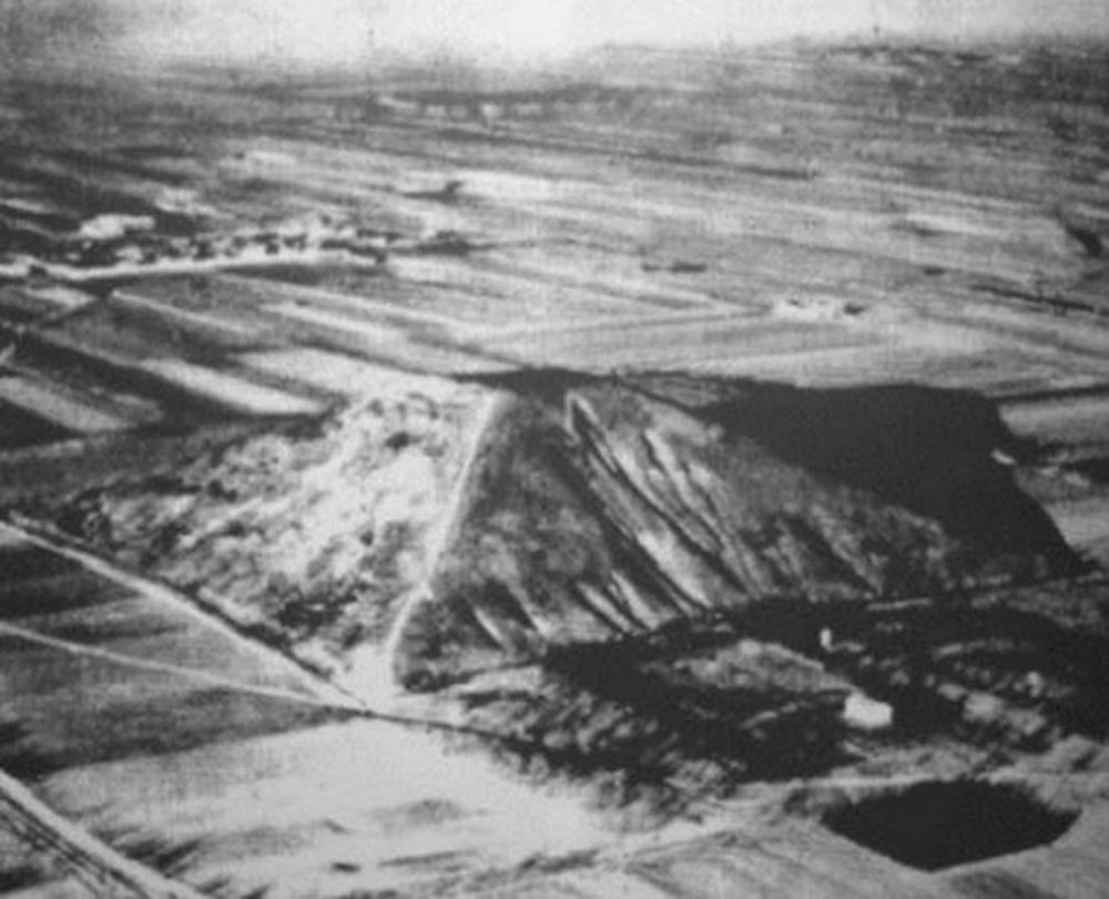The alleged unconfirmed photograph of the Great White Pyramid of China. It is said that this ancient Chinese pyramid is twice as large as the Great Pyramid of Giza.