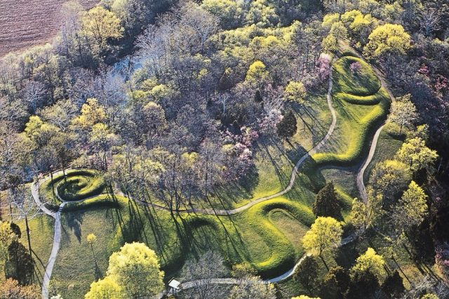 The entire enigmatic Serpent Mound as seen from high in the sky.