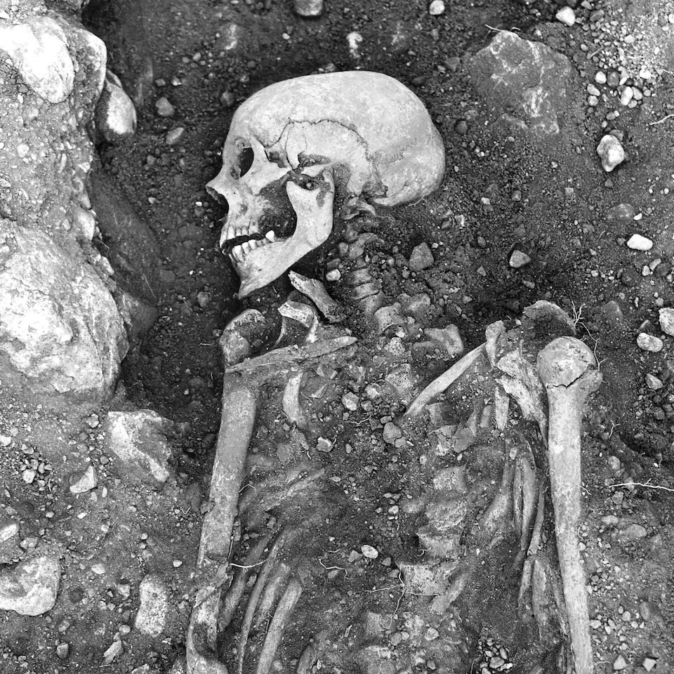 One of the 13 Viking skeletons infected with smallpox. This particular one was found on Oland, Sweden and is more than 1200 years old.