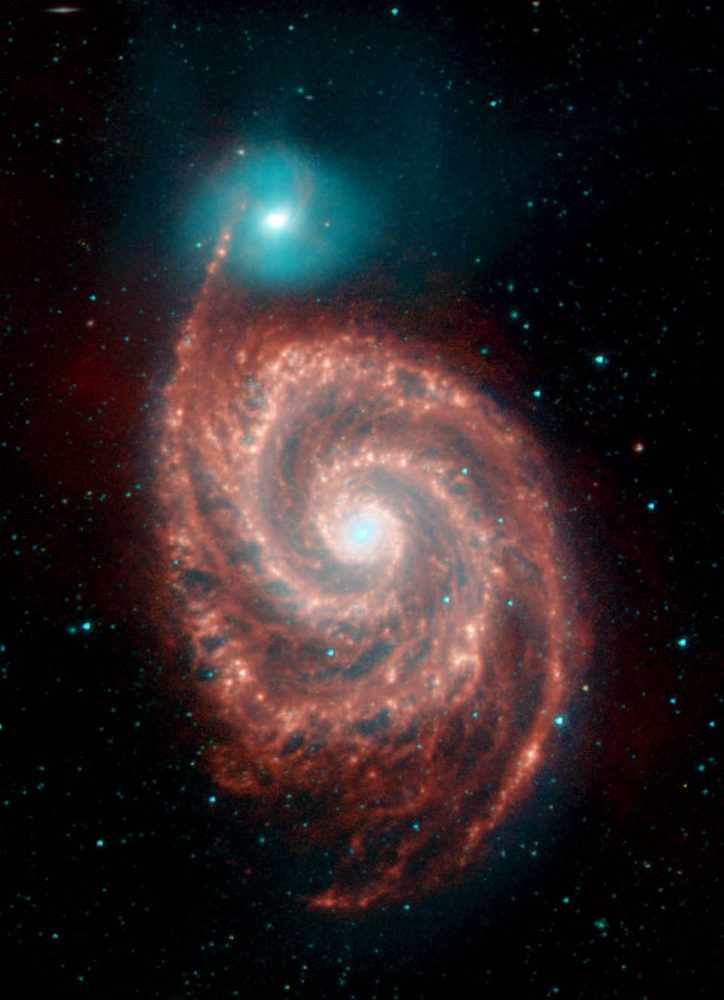 "Spitzer View of the Spiral Galaxy M51 (""Whirlpool Galaxy""). Image Credit: NASA / Spitzer Space Telescope."