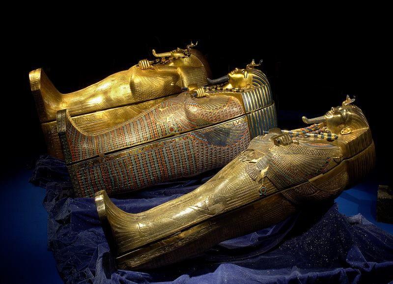 The three sarcophagi of Tutankhamun.