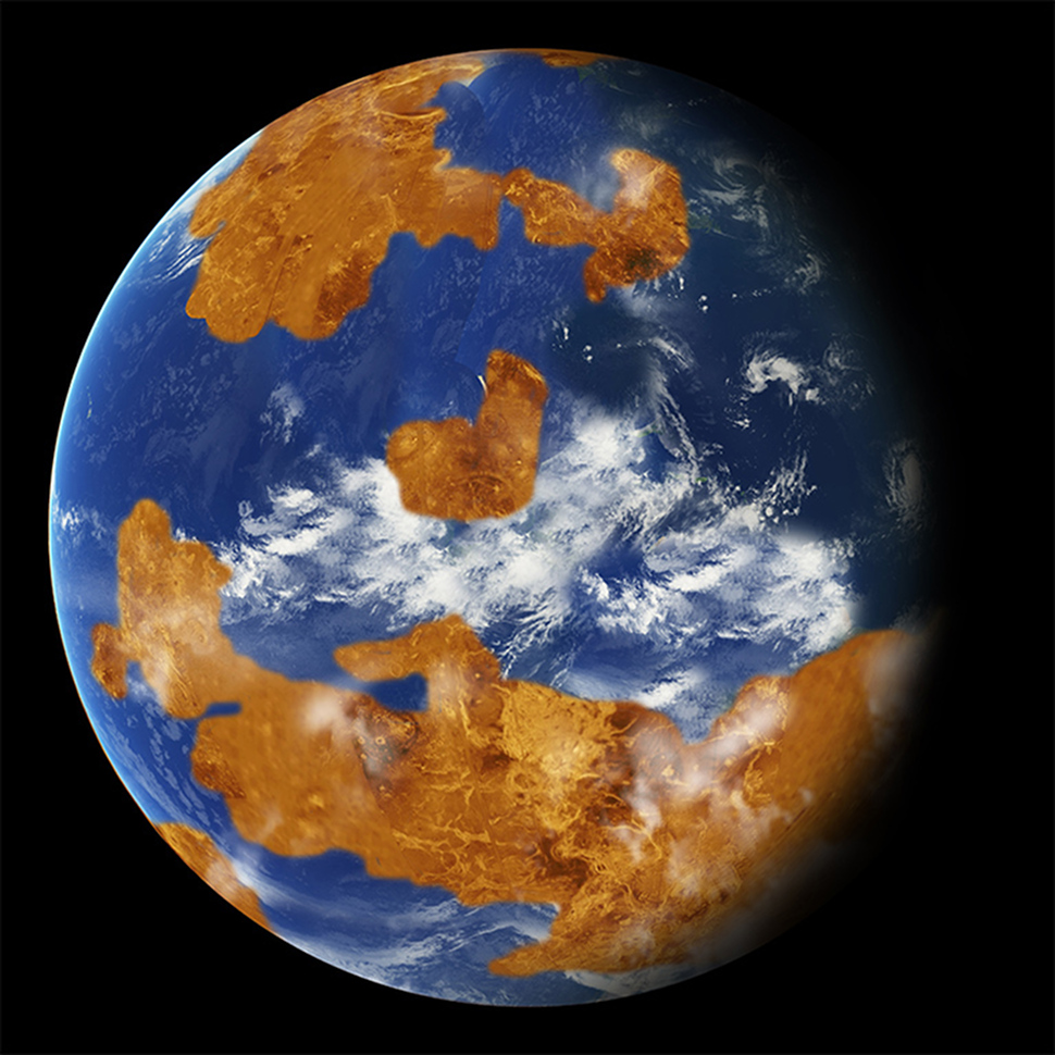 Visual representation of how Venus could have potentially looked like over 750 million years ago.