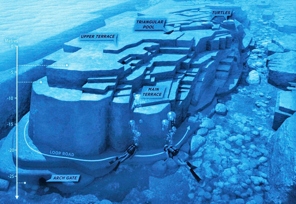 An illustration presenting the Yonaguni momument as it has been mapped by experts and divers.