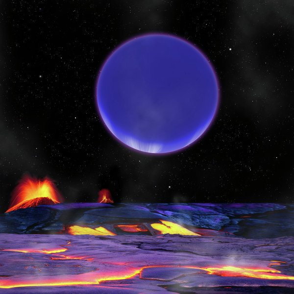 An artist's conception shows Kepler-36c as it might look from the surface of neighboring Kepler-36b.