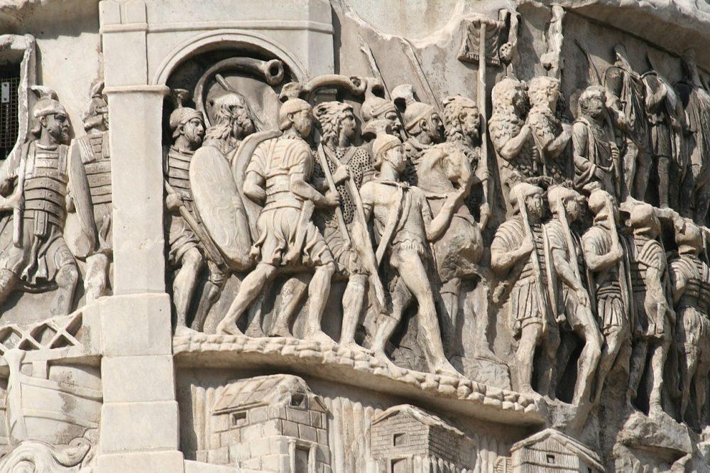 The Column of Marcus Aurelius and the relief depicting Roman Legionaries.