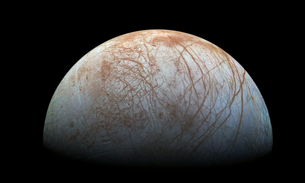 The stunning surface of Europa as seen from this reprocessed image taken by the Galileo spacecraft. Source: NASA