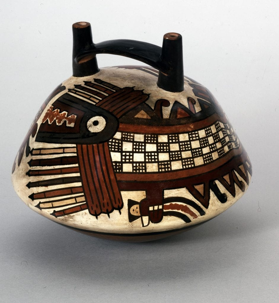 A magnificent ceramic jar from the Nazca culture with the killer whale deity illustrated. Credit: British Museum