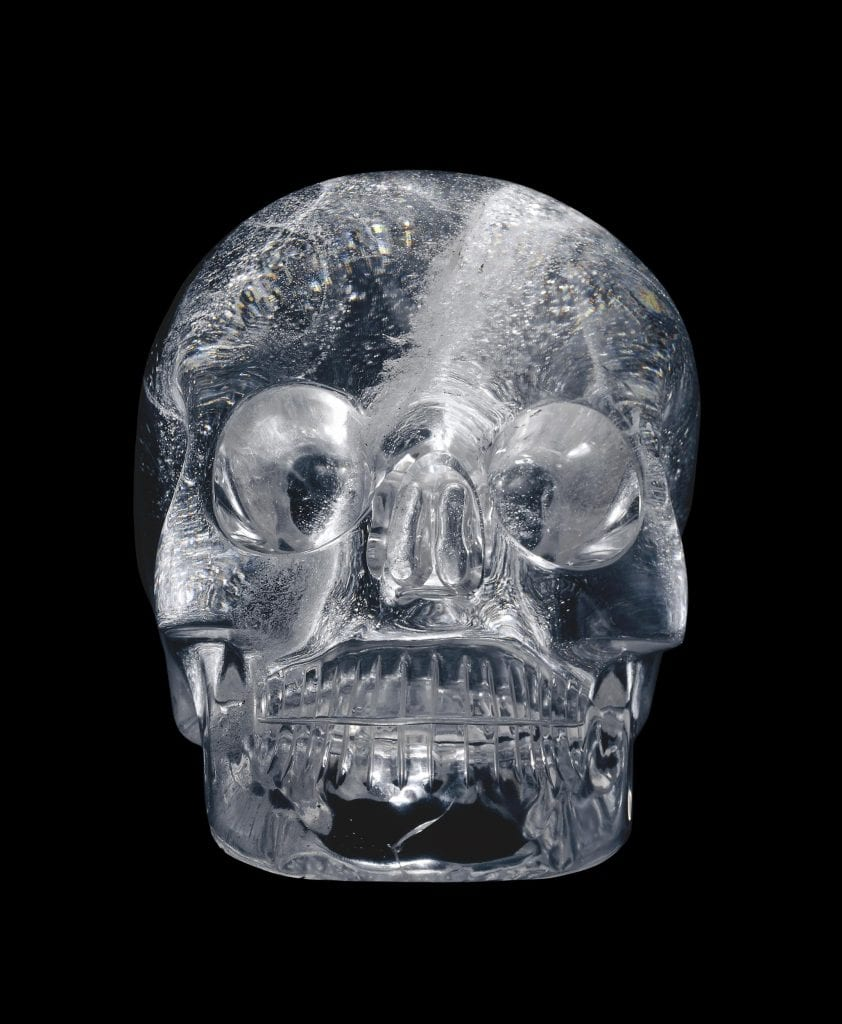A crystal skull from the collection of the British Museum. The origin of the artifact is unknown although it is believed that it originates from Mexico or the region. Credit: British Museum