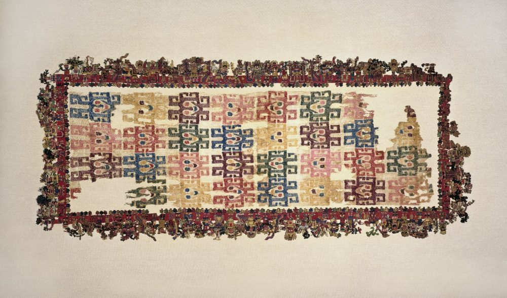 The most famous Paracas Textile mantle which includes over 90 different figures on its borders. Source: Brooklyn Museum