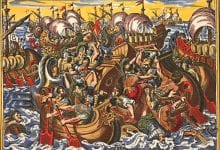 Copper engraving depicting the Peloponnesian War. More specifically, it depicts the defeat of the Athenian naval army.