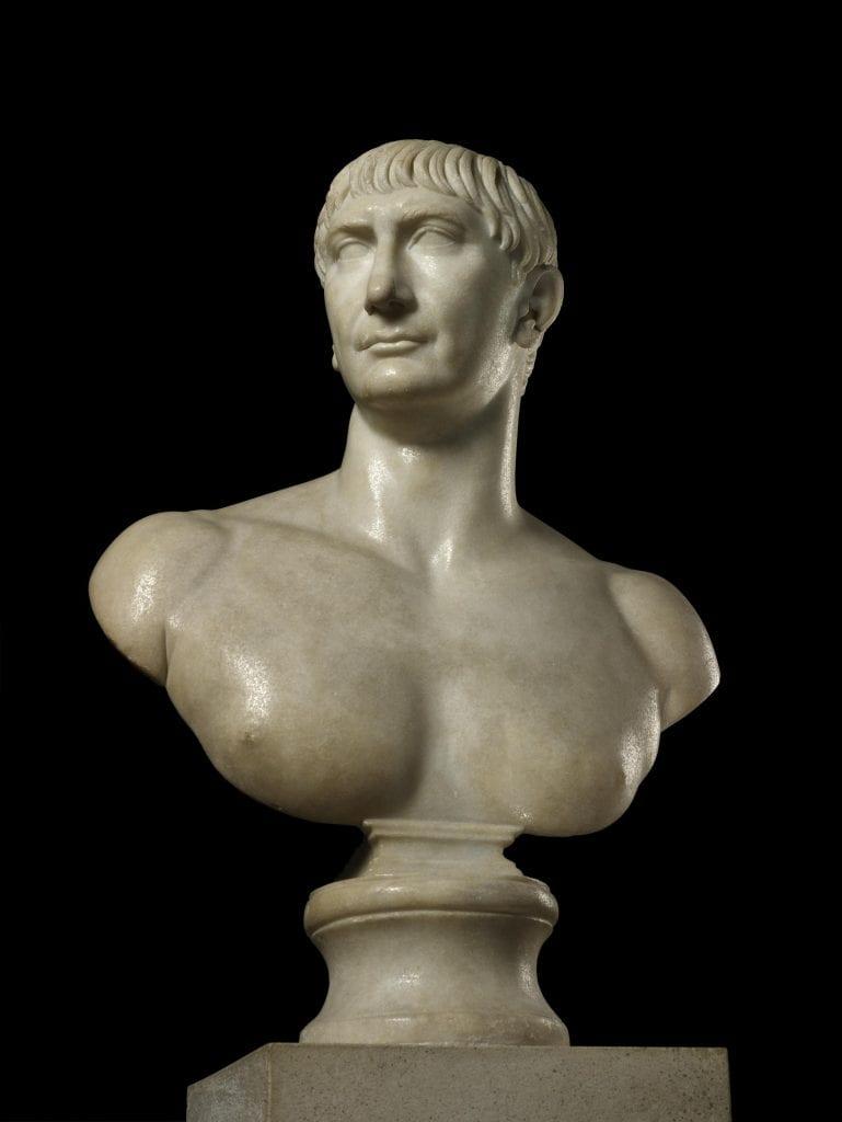 An unusual marble bust of Emperor Trajan. Credit: British Museum