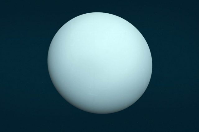 This is an image of the planet Uranus taken by the spacecraft Voyager 2 on January 14th 1986 from a distance of approximately 7.8 million miles