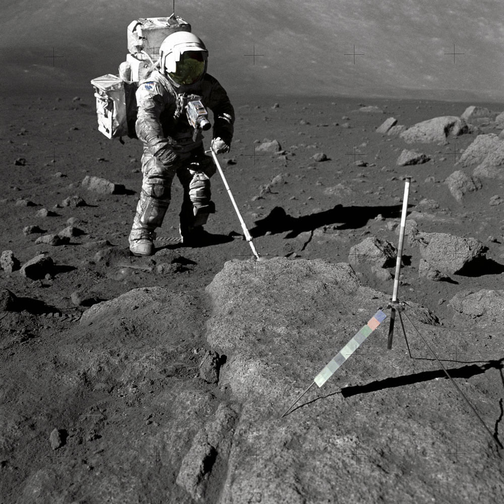 Harrison Schmitt, the last living person to have set foot on the Moon photographed while taking samples during Apollo 17.