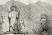 An old engraving illustrating the Bamyan Buddhas over a hundred years ago in 1883.