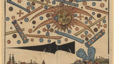 "An illustration of the News Notice published in April 1561 showing ""a celestial phenomenon"" over the city of Nuremberg. Image Credit: Wikimedia Commons."