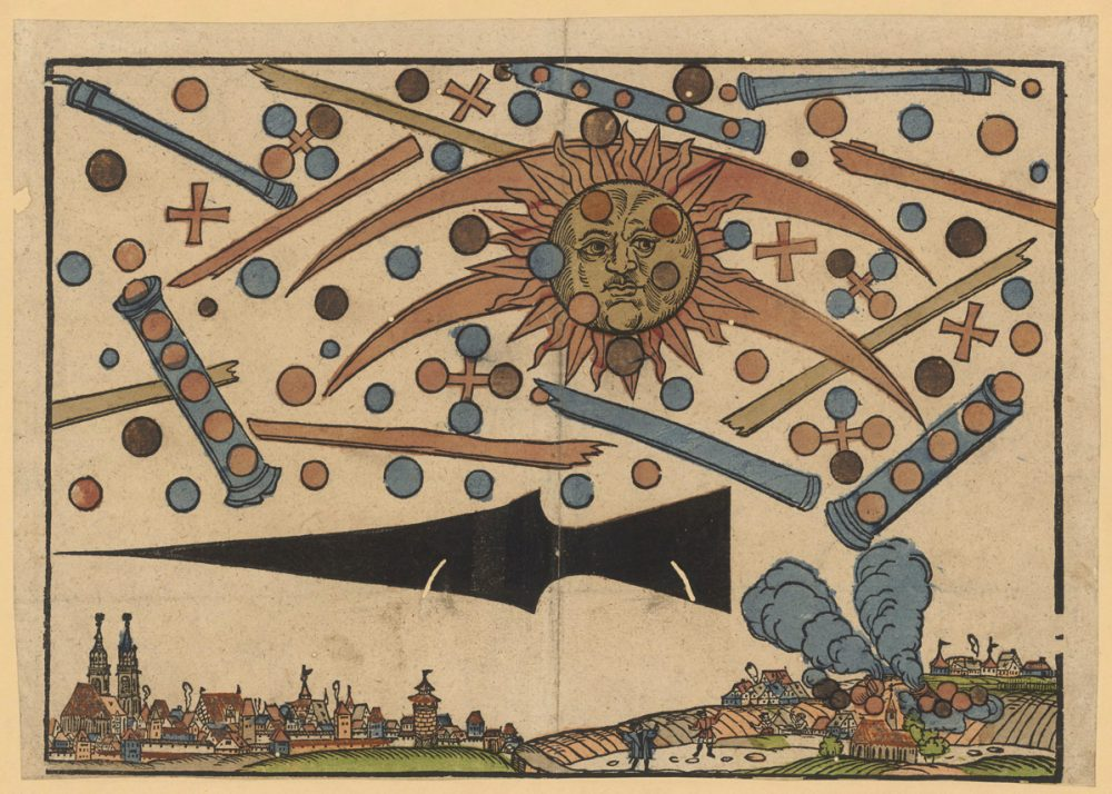 """An illustration of the News Notice published in April 1561 showing """"a celestial phenomenon"""" over the city of Nuremberg. Image Credit: Wikimedia Commons."""