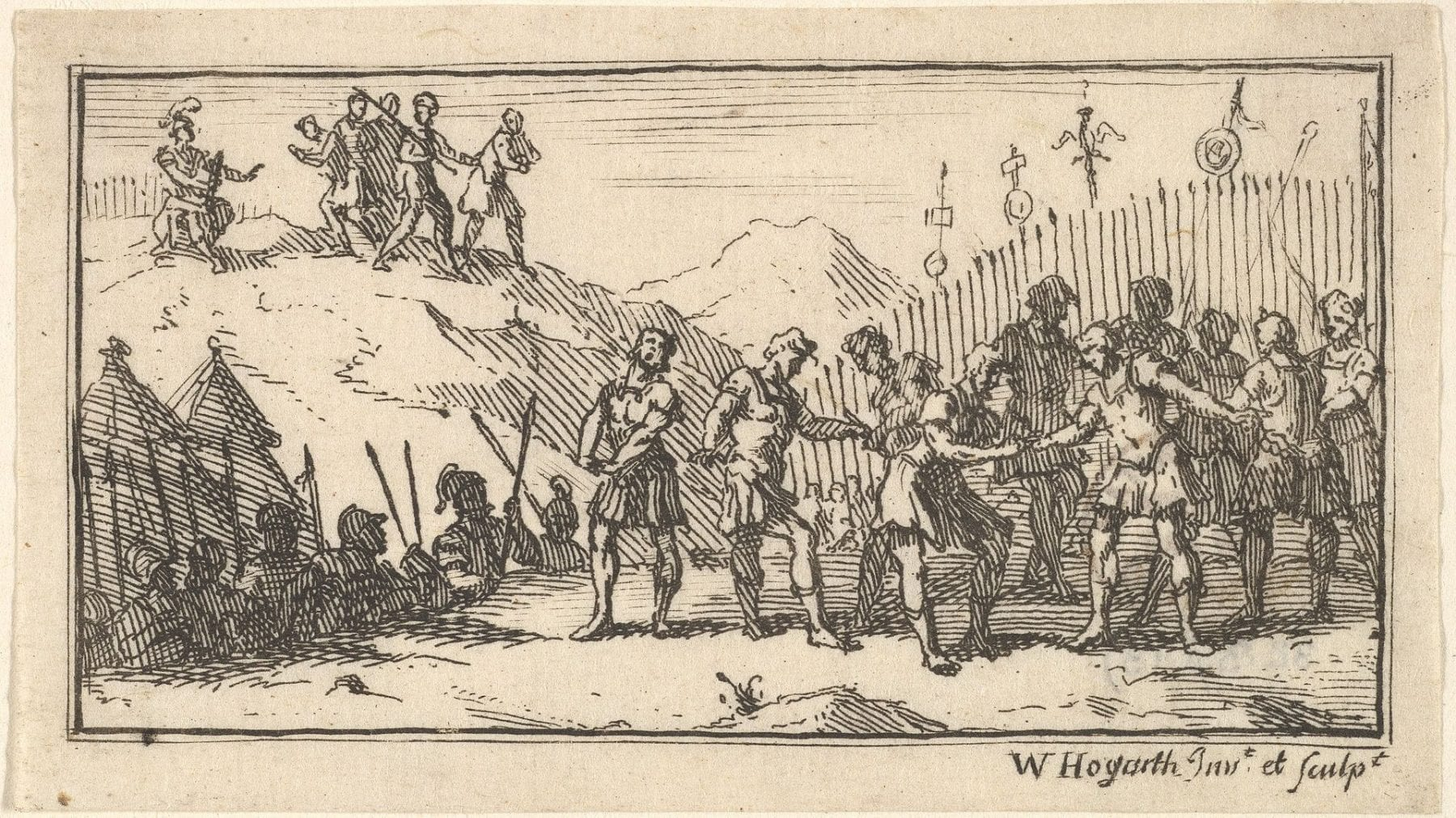 Etching from Beaver's Roman Military Punishments, Chapter 4, 1725 called Decimation presenting the Roman punishment.
