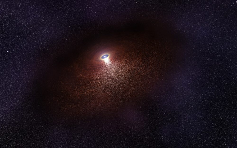 An artist's illustration showing a neutron star (RX J0806.4-4123) with a disc of warm dust that produces an infrared signature. Image Credit: ESA/Hubble.