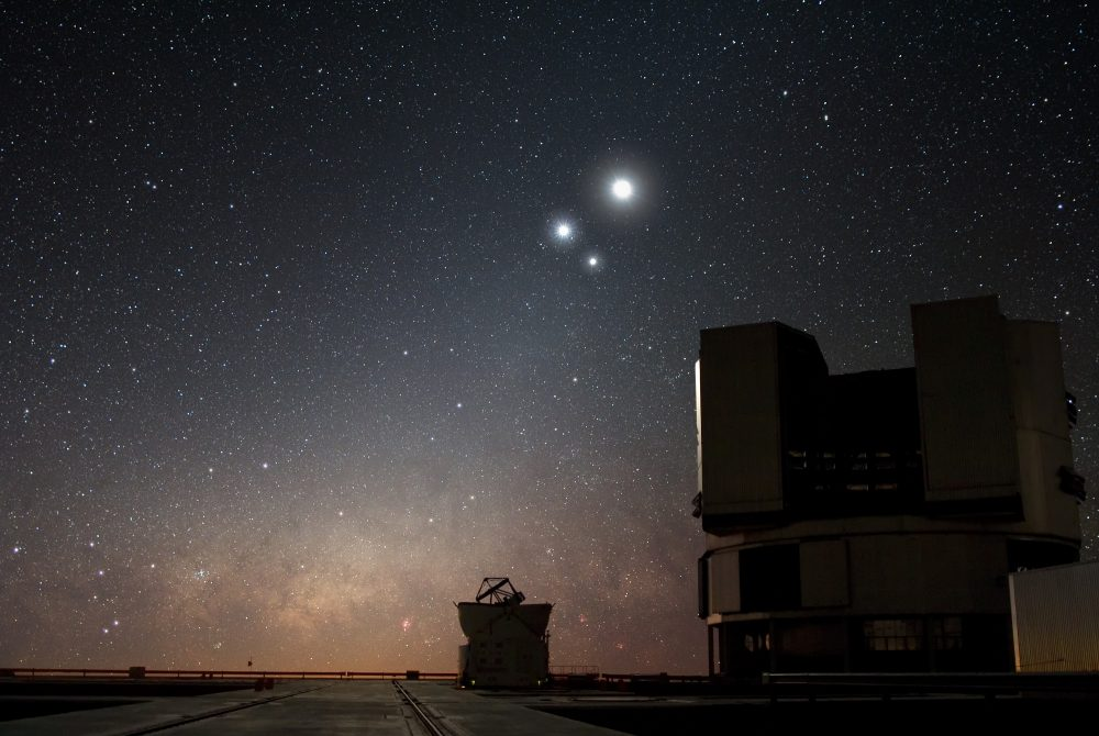 In the night sky over ESO's Very Large Telescope (VLT) observatory at Paranal, the Moon shines along with Venus and Jupiter. Image Credit: ESO/Y. BELETSKY.