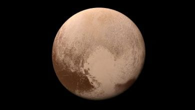 The water on Pluto is in the form of ice, which is more than three times as much water as in all the Earth's oceans.