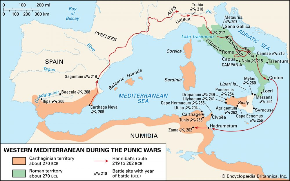 Map of the Western Mediterranean during the Punic Wars between Rome and Carthage.