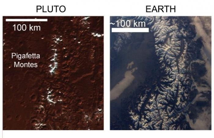 A comparison between snow-capped mountains on Pluto (left) and snow-capped mountains on Earth (right). Image Credit: Nature Communications (DOI https://doi.org/10.1038/s41467-020-18845-3).