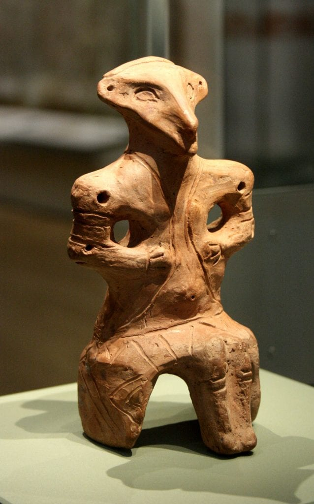 A clay figurine with triangular-shaped head from the Vinca Culture. While it does resemble certain animal species, I do not believe that this is what they depicted.