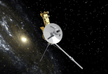 A model of NASA's Voyager 1 space probe.