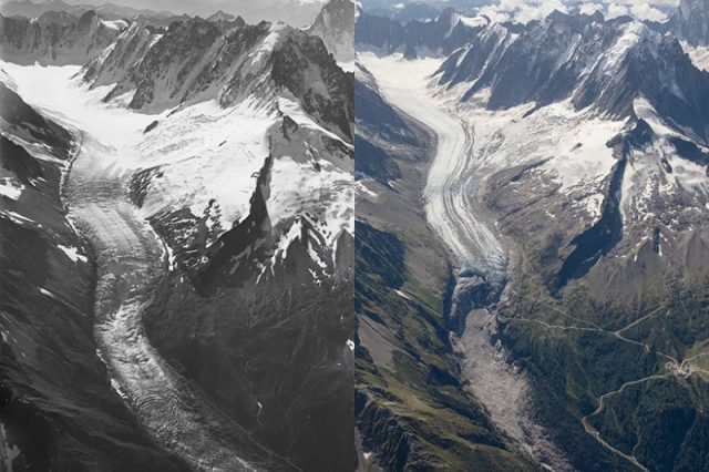 The result of the climate changes on the Argentière glacier - one of the largest glacier in the Mont Blanc massif. The photographs were made 100 years apart and show the progressive melting of the glacier. Source: EOS