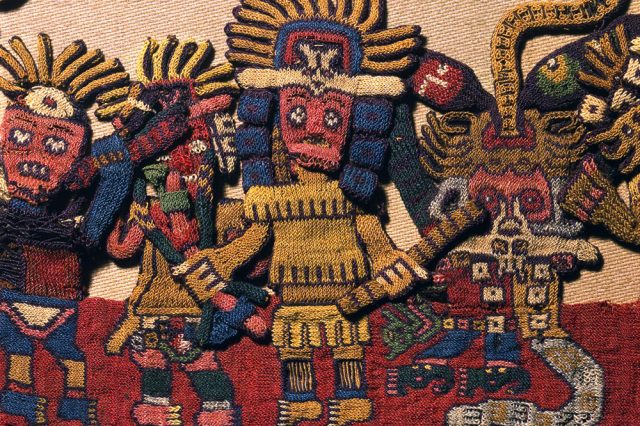 A fine example of the craftsmanship of the ancient Paracas culture - one of the many embroidered textiles found in the Paracas Necropolis.