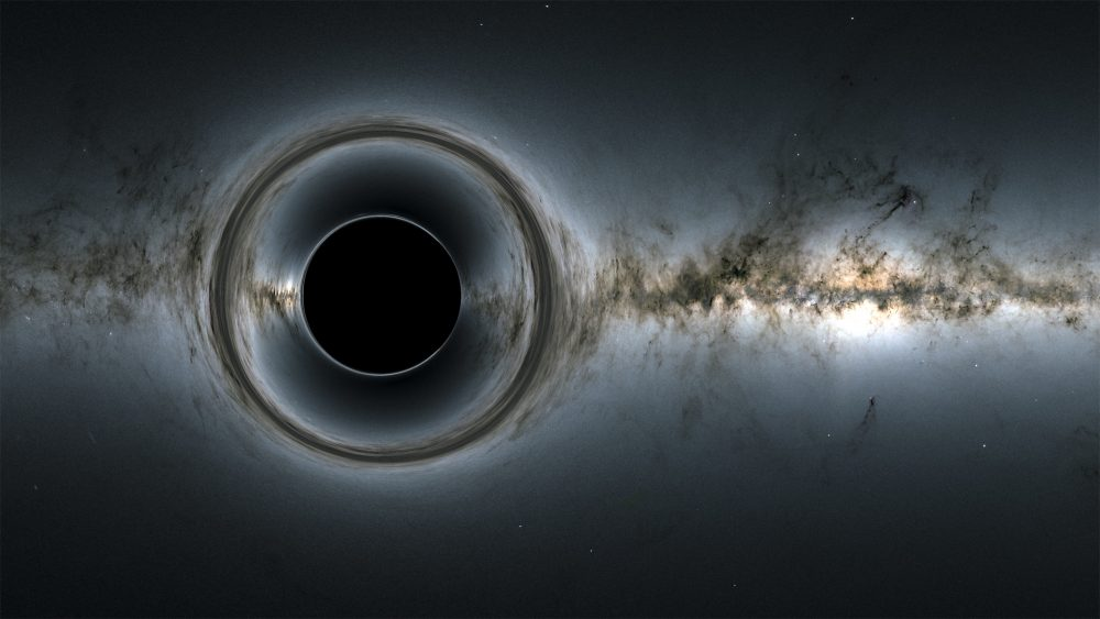 A Black Hole simulation provided by NASA to accompany their scientific explanation of a black hole. Credit: NASA